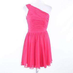 Halston Heritage pink one shoulder dress 0